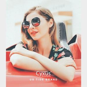 Image 5 - Cyxus نظارة شمسية مستقطبة دائرية ريترو للنساء UV 400 نظارات عاكسة 1001