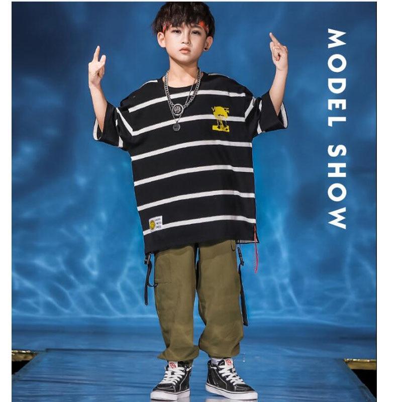 Girls Boy Cool Jazz Modern Dancing Costumes Tshirt Jogger Pants Kids Ballroom Hip Hop Dance Wear Outfits Street Wear Clothes