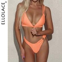 Ellolace плиссированные бикини 2020 сексуальный женский купальник оранжевый неоновый зеленый купальник пуш-ап купальник купальники микро бикини