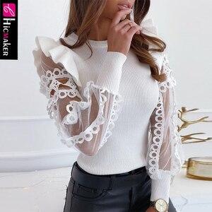 Femmes maille dentelle garniture volant côtelé Blouse Chic solide printemps automne col rond élégant haut blanc chemise