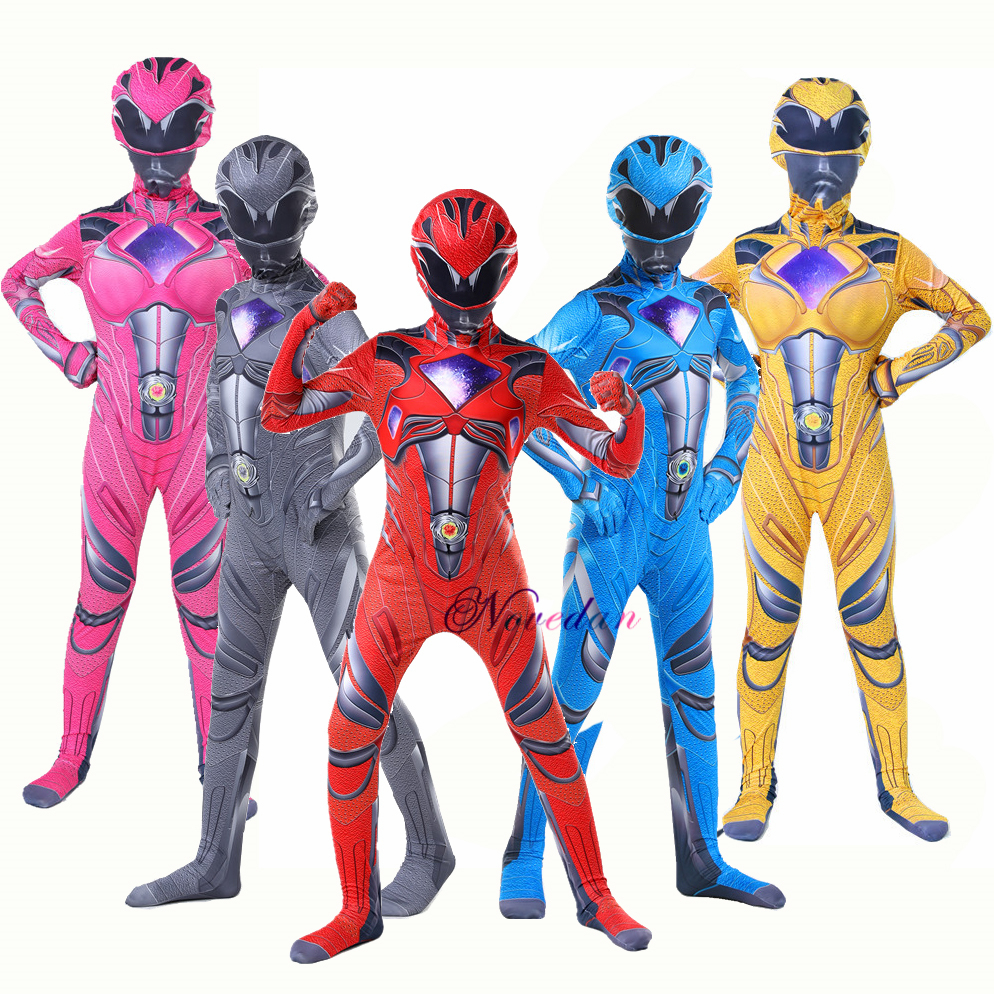 Red Rangers Costume Boys Power Mecha Five Beast Cosplay Anime Child Halloween Costumes For Kids Mask Carnival Party Jumpsuits