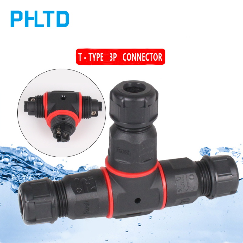 IP68 Waterproof Connector T Shape 3 Pin Cable Wire Gland Sleeve Connector Quick Connect Waterproof Connector