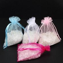 50 pçs/saco 7x9 centímetros Decoração de Festa de Casamento Drawable Organza Sacos De Jóias Malotes pequenos Sacos de Embalagem de Presente