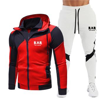 Męska bluza z kapturem bluza 2-sztuka marka sportowa odzież męska moda odzież sportowa odzież sportowa z kapturem + spodnie 2020 jesień modny zestaw tanie i dobre opinie CN (pochodzenie) O-neck Sznurek zipper Bawełna mieszanki Pełna Na co dzień trousers Blended Aplikacje Drukuj
