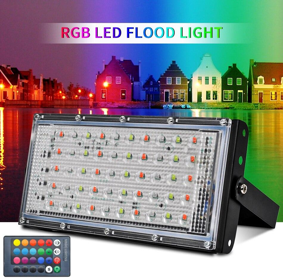 LED Flood Light 50W 100W RGB Led Floodlight AC220V LED Wall Gate Street Lamp Waterproof IP65 Outdoor Lighting Led Cob Spotlight