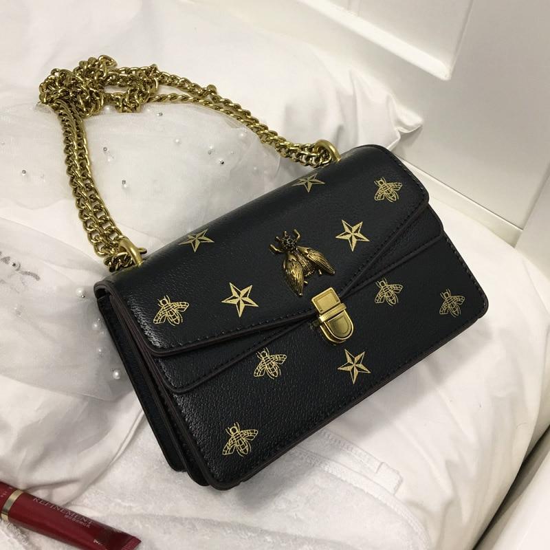 Louis Brand Star Print Bee Metal Buckle Flap Mujer Purse 2020 Women Crossbody Bag Female Bolsa Sac Shoulder Bag Luis Vuiton