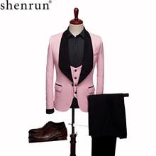 SHENRUN Mens Fashion Big Shawl Lapel 3 Pieces Set Pink Red Blue White Black Wedding Groom Suits Quality Jacquard Banquet Tuxedo