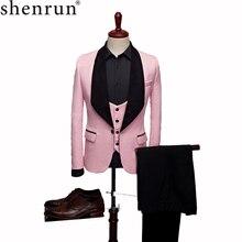 SHENRUN moda męska duży szal Lapel 3 sztuk zestaw różowy czerwony niebieski biały czarny ślubne garnitury dla pana młodego jakości żakardowe bankiet Tuxedo