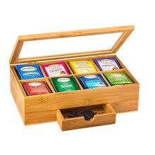 Бамбуковая чайная коробка деревянный чайный сундук с 5/8 разделителями и ящиком для хранения чайных пакетиков и других