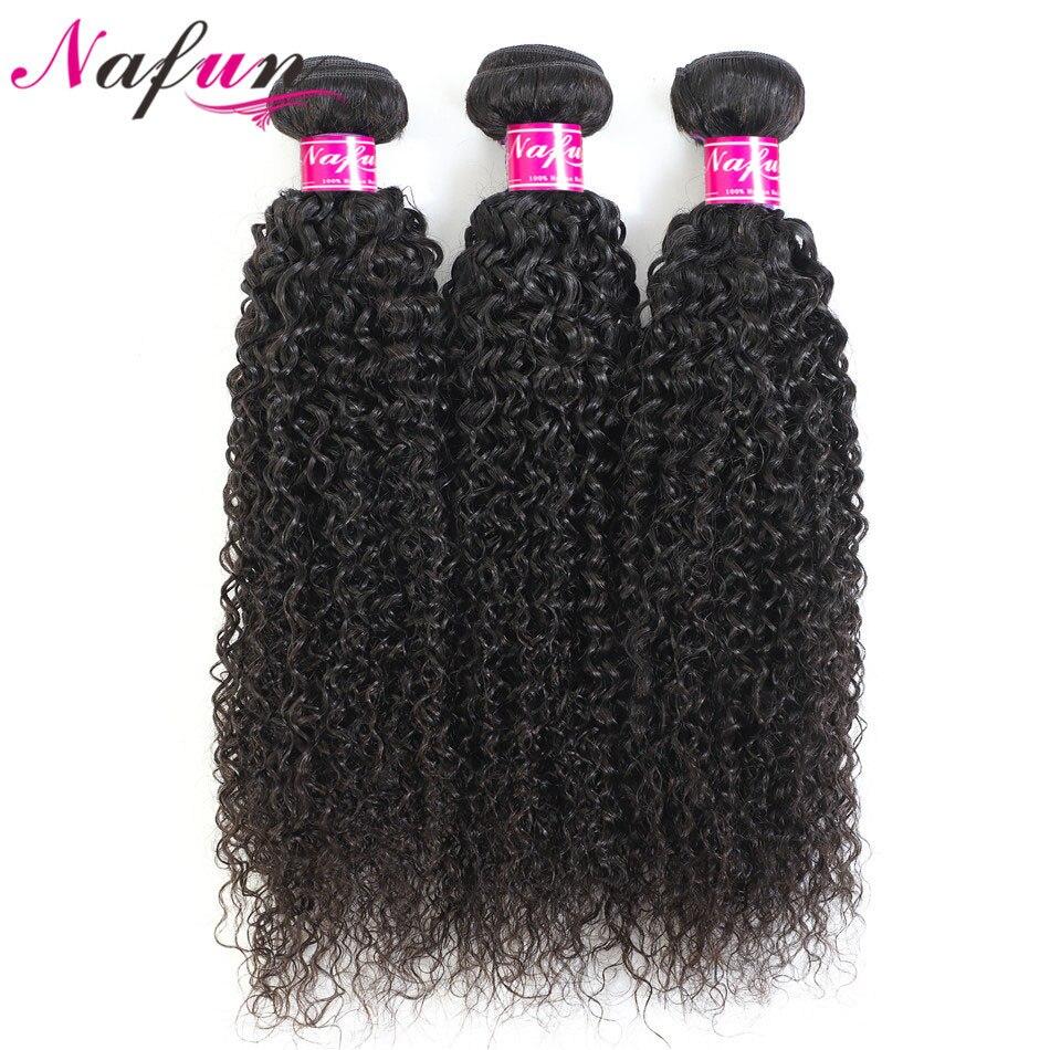 Brazilian Kinky Curly Bundles Non-Remy Human Hair Extension Natural Color Wavy Bundles Extension Kinky Curly Bundles NAFUN Hair