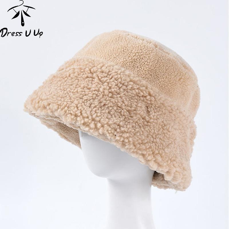 DRESSUUP 2019 New Autumn Winter Women Thick Warm Lamb Wool Bucket Hats Bob Fashion Casual Solid Flat Top Cap Female Girls Panama