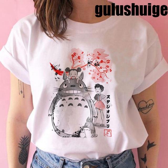 Totoro Studio Ghibli Harajuku Kawaii T Shirt Women Ullzang Miyazaki Hayao Tshirt Funny Cartoon T-shirt Cute Anime Top Tee Female 3