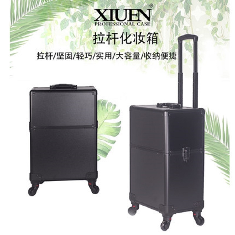 Profession Simplicity Carrying Multi-function Advanced Luggage Trolley Embroidery  Beauty Nail Jewelry Make Up Suitcase