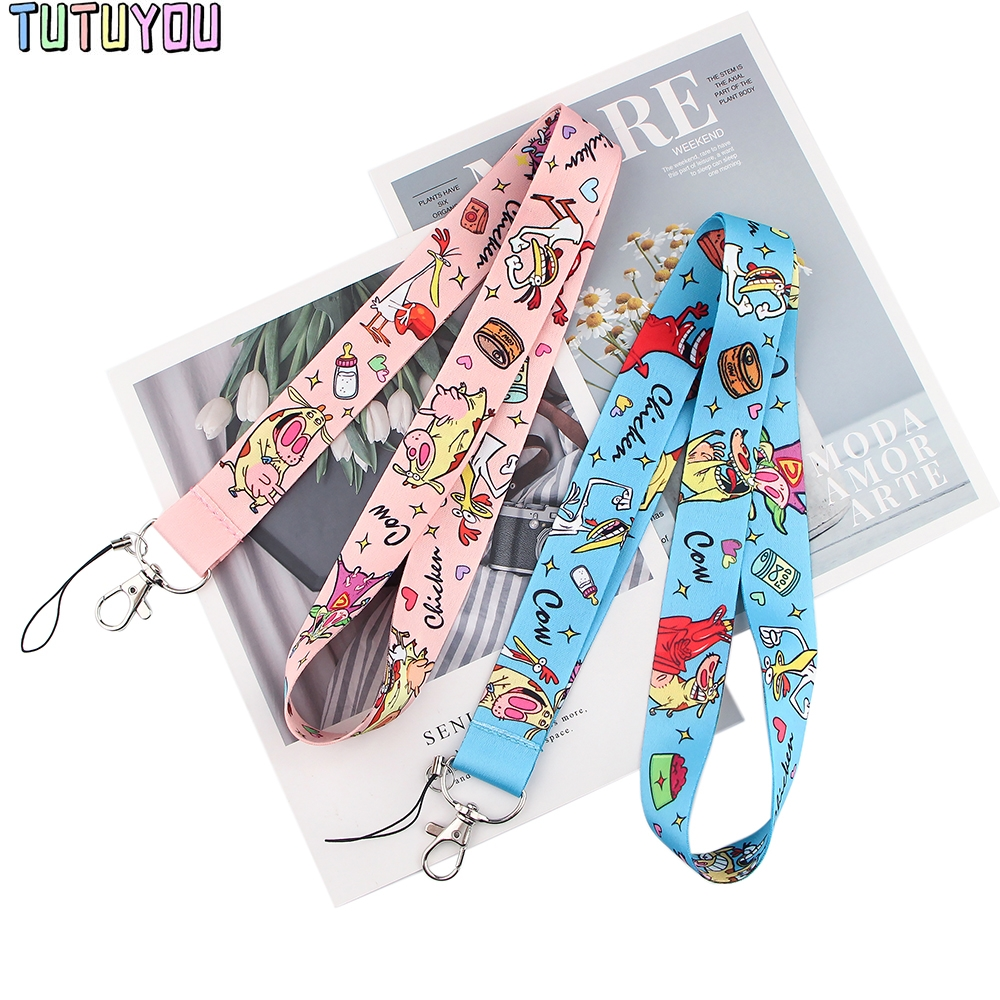 Lanyard Students-Friends Necklace Usb-Badge-Holder Phone Cow-Key-Chain Pink Blue Cartoon-Color