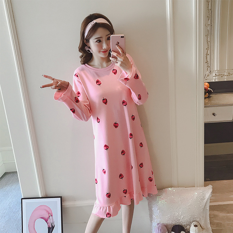 Ladies sweet autumn new home clothes cotton long-sleeved cartoon nightdress casual cute cool breathable