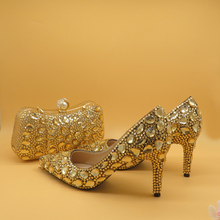 Champagne Pointed Toe Crystal  Wedding Shoes With Matching Bags Women High Heels Shoes Party Dress Shoes And Bags Party Purse 2018 new sky blue party slip shoe on mature italian shoes with matching bags rhinestones high quality african shoes and bag set