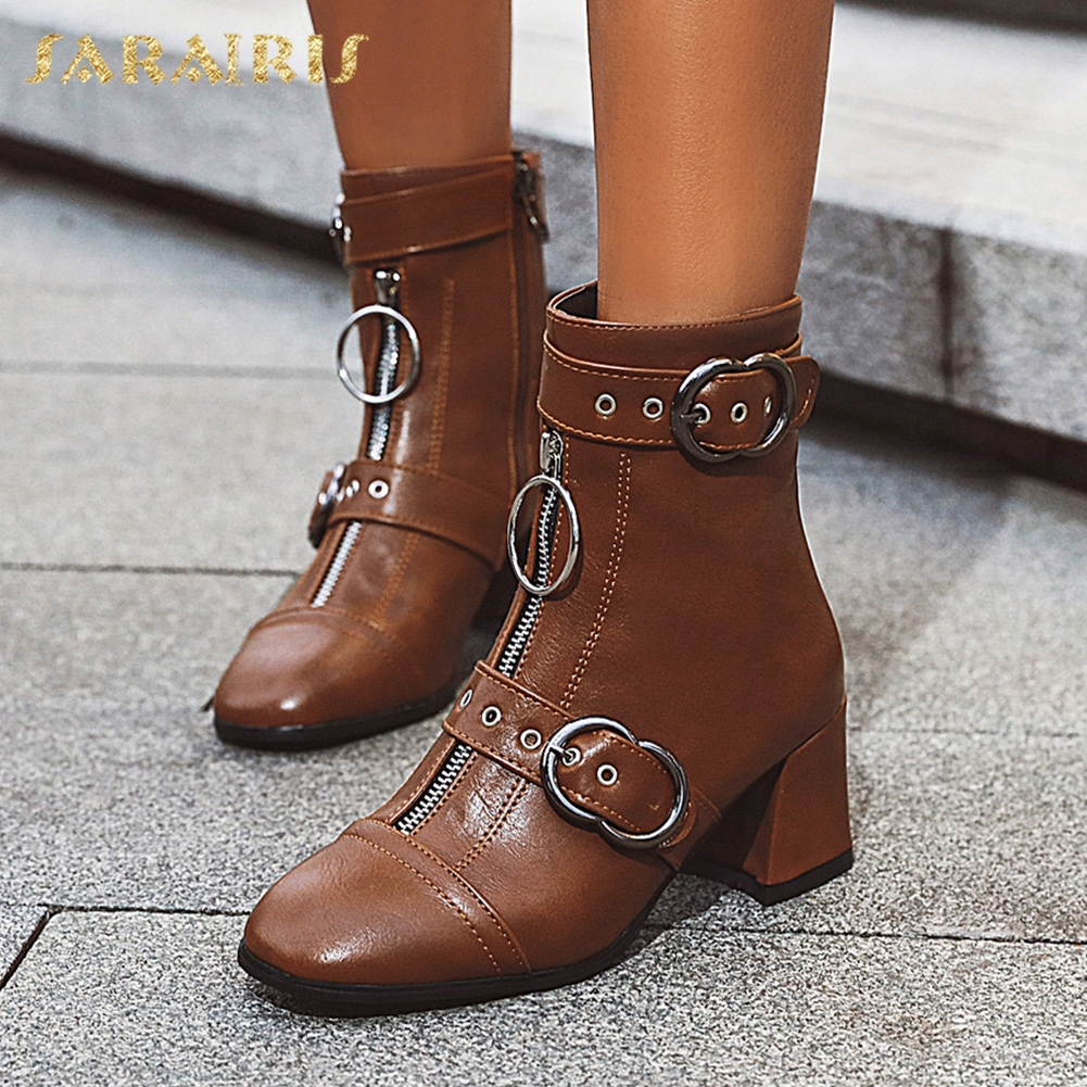 Sarairi grande taille 33-48 bout pointu 2020 ajouter fourrure automne hiver chaussures femme bottes Zip Up talons Chunky bottines femmes chaussures