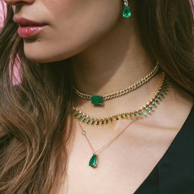 Big green baguette cz Miami Cuban link chain necklace for women iced out bling cz chain choker 32+8cm