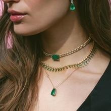 Collar de cadena de eslabones cubanos con Circonia cúbica para mujer, gargantilla de cadena de zirconia cúbica brillante, verde grande, 32 + 8cm