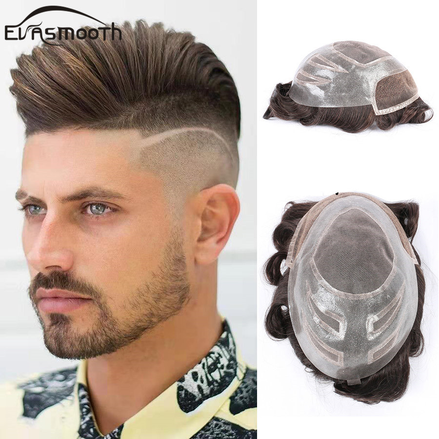 Versalite Wig Mens Lace & Pu Front Wig Piece Men Toupee Hair Replacement Systems Remy Natural Human Hair Male Wig Free Shipping