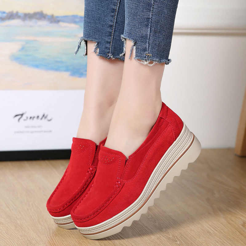 Wanita Flat Plus Ukuran Platform Datar Spring Kasual Wanita Sepatu Sneaker SLIP ON Sepatu Wanita Sepatu Zapatos Mujer 2019 VT613