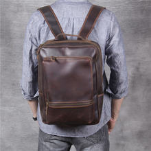Простой мужской рюкзак в стиле ретро из натуральной кожи crazy
