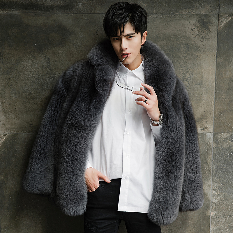 Men Fur Coat 100% Real Fox Fur Jacket Winter Natural Fur Coat And Jacket New Arrival Manteau Homme Hiver 18289-2 KJ1424
