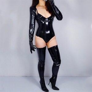Image 5 - 2020 新ラテックスボレロ手袋輝き革フェイクパテントブラックトップジャケットすくめ女性ロング革手袋 WPU205 クロップ