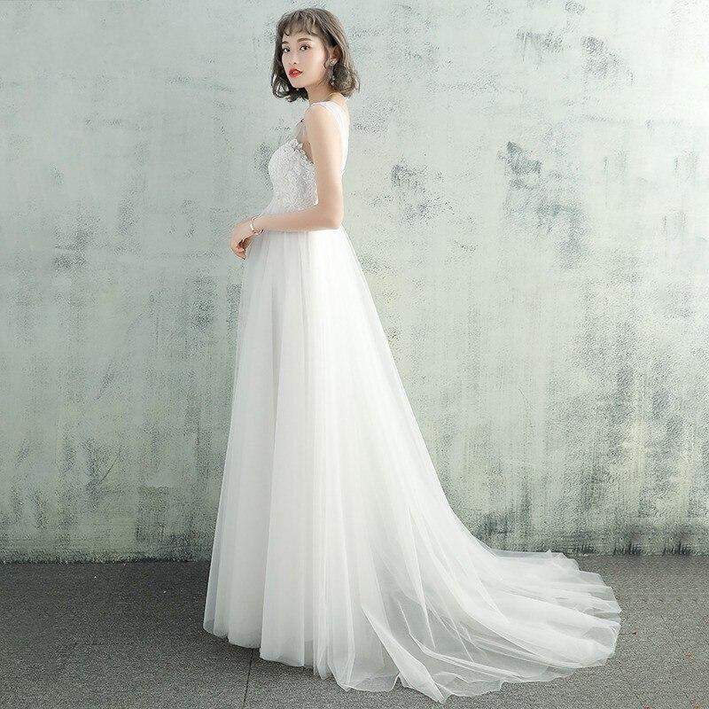 Новое поступление, белые кружевные свадебные платья, Длинные трапециевидные с круглым вырезом, трианские кружевные свадебные платья 2019