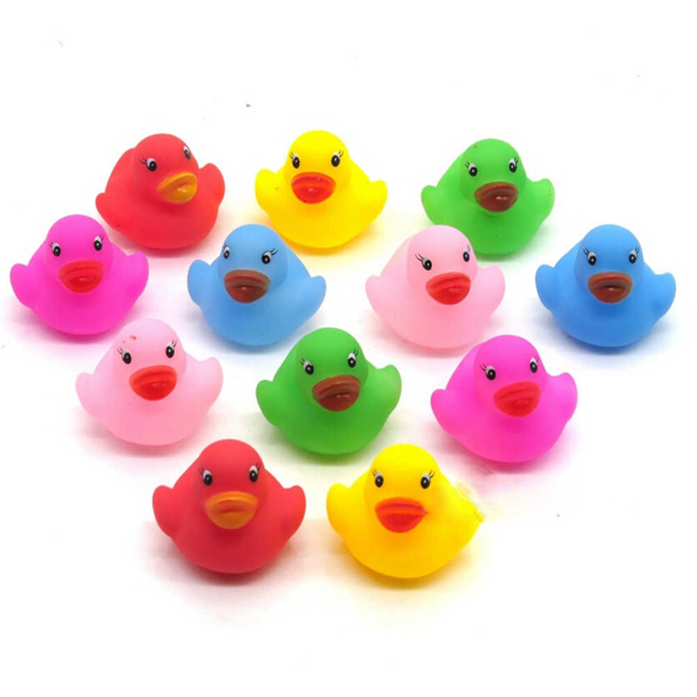 12pcs/lot Kawaii Mini Colorful Rubber Float Squeaky Sound Duck Bath Toy Baby Bathroom Water Pool Funny Toys for Girls Boys Gifts