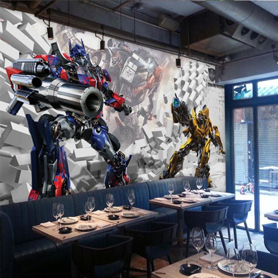 Milofi Custom 3D Wallpaper Mural Personality Transformers 3D Optimus Prime Hornet Decorate Children's Room Background Wall