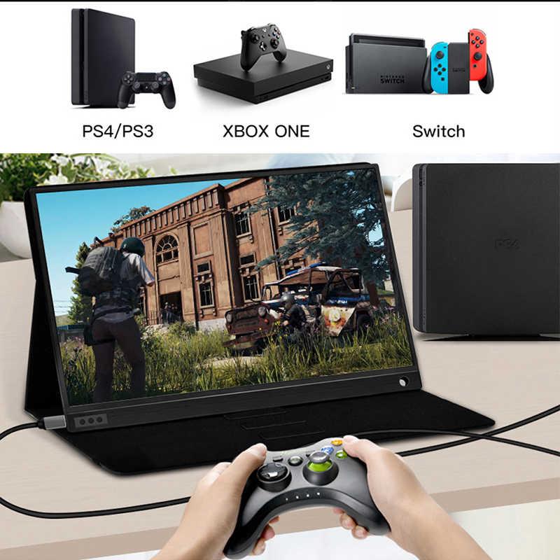 """Портативный монитор 15,6 """"светодиодный usb type C Hdmi игровой монитор ips1920 * 1080p HD дисплей для PS4 ноутбука телефона Xbox переключатель ПК с Чехол"""