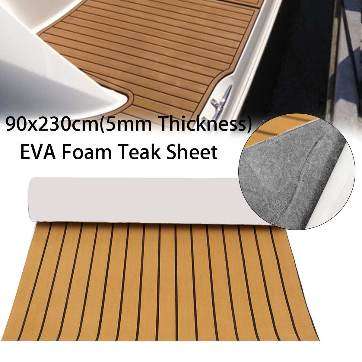 Self-Adhesive 900x2300x5mm Foam Teak Decking EVA Foam Marine Flooring Faux Boat Decking Sheet Accessories Marine Gold Black