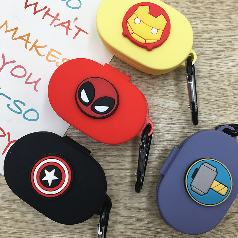 Cartoon Earphone Cover For Redmi Airdots Case With Hook Cute Protection Frame With Keychain For Mi Airdots Earphone Cases