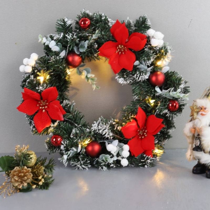 40cm LED Christmas Wreath With Artificial Pine Cones Berries Flowers Front Door Hanging Decoration Wreath Rattan Wall Ornament