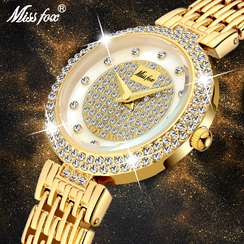 MISSFOX Women's Watches Fashion Luxury Brand Full Lab Diamond Gold Women's Wristwatch Bling Casual Ladies Quartz Watch Clock New