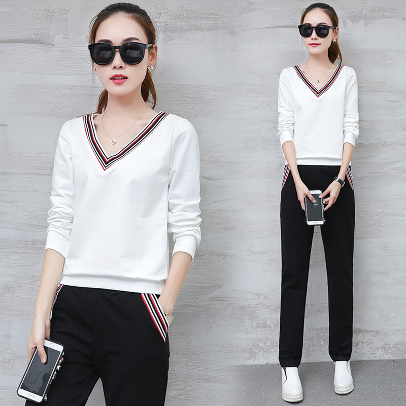 Spring And Autumn New Style V-neck Long Sleeve Trousers Korean-style Fashion WOMEN'S Dress Slim Fit Casual Two-Piece Set Sports