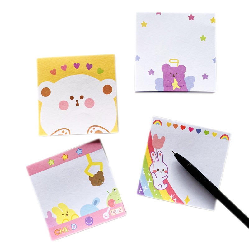 50Pages/Pack Cute Rabbit Bear Doll Machine Rainbow Slide Memo Pad Paper Notepad School Office Supply Student Stationery Kid Gift