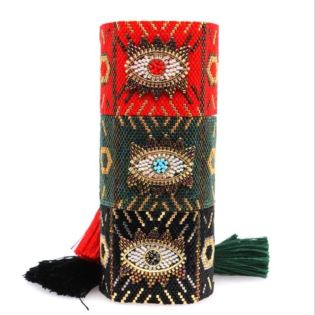 Браслеты SHINUSBOHO в стиле панк для мужчин и женщин, мексиканские браслеты на запястье, ювелирные изделия, женские браслеты 2020, популярные браслеты Миюки с изображением сглаза, женские браслеты