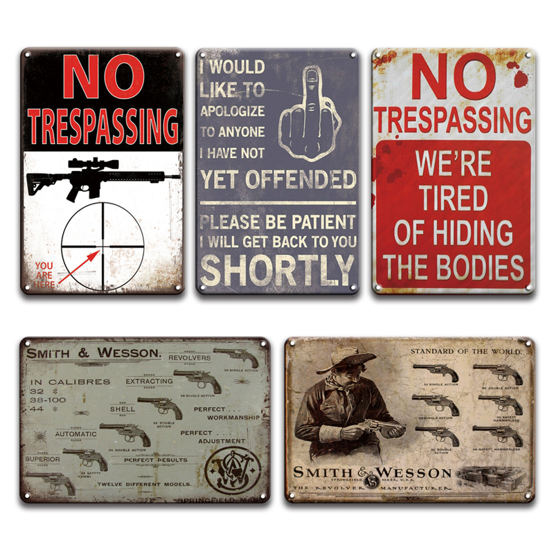 WARNING NO TRESPASSING Metal Sign Vintage SMITH N WESSON Tin Signs Farmhouse Decor Chic Weapon Shop Living Room Home Decor image