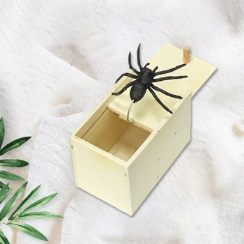 New Arrival Halloween Simulation Prank Spider Wooden Scare Box Trick Spoof Spider Toys Kids Funny Joking Toys Gift halloween scary party scene spider decorative props joking birthday toys diy halloween simulation plush spider decorative