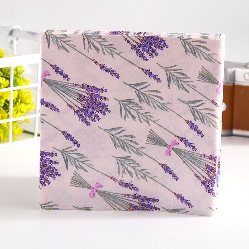Lavender Printed Napkin Tissue Purple Wedding Banquet Restaurant Napkin Cup Stained Paper Placemat 20