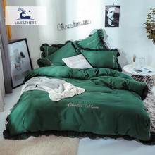 Liv-Esthete 2019 Luxury Beauty Dark Green 100% Cotton Bedding Set Lace Printed High Quality Duvet Cover Flat Sheet Queen King