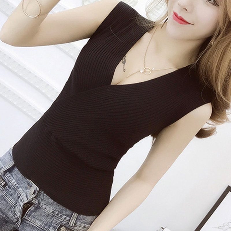 Sexy Slim Female T-shirt Deep V Neck Sleeveless Knitted Tops Summer Clothes