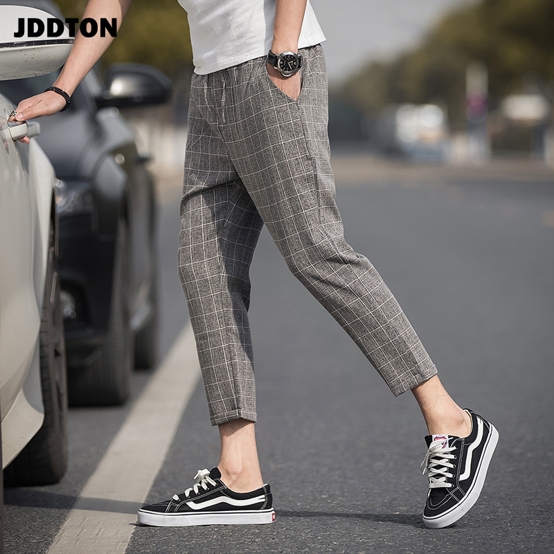 JDDTON Mens Linen Plaid Pants Jogger Sweatpant Casual Hip Hop Streetwear Loose Ankle-Length Pant Male Fashion Thin Trouser JE277