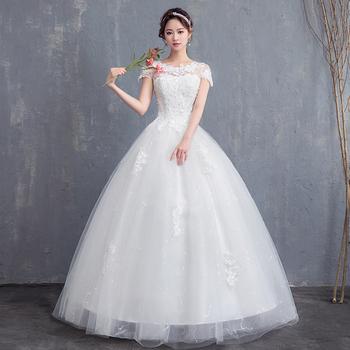 Suknie ślubne wiązane suknie ślubne hafty suknie balowe suknia ślubna 2020 w nowym stylu Bride Princess suknie Vestidos De Novia tanie i dobre opinie Lifeglad O-neck Krótki Matte Satin NONE Długość podłogi Lace up REGULAR Aplikacje Kwiatowy Print LFwx10 Księżniczka