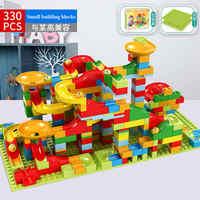 52-330PCS New Marble Race Run Maze Ball Jungle Adventure Track Building Block Small Size Bricks Compatible LG Block kid gifts
