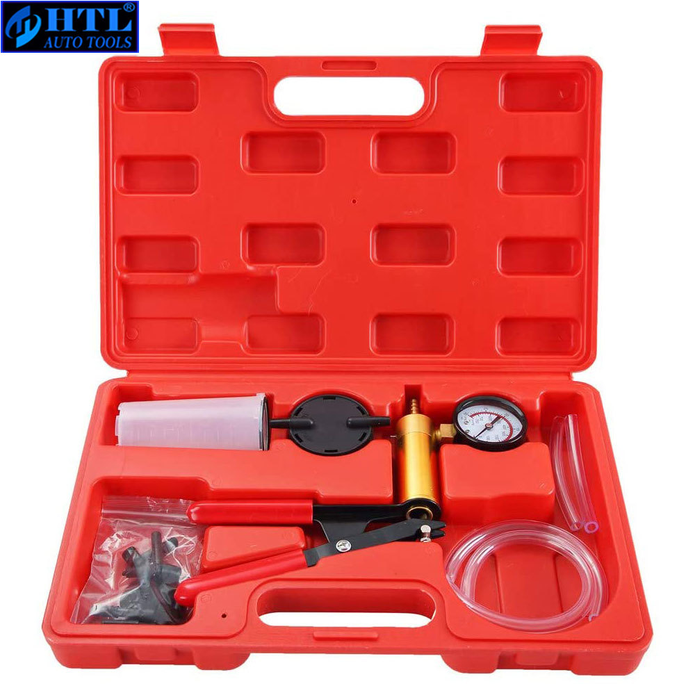 Brake Bleeder  amp  Hand Held Vacuum Pump Tester Kit Suitable Automotive Vacuum Gauge and Brake Exhaust Kit  2 in 1-Copper Pump Body