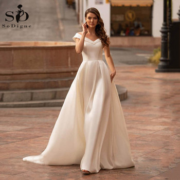 SoDigne New Wedding Dresses Sexy Off Shoulder Button Back Bridal Gowns Custom Made Lace Satin Beach 2020 - discount item  43% OFF Wedding Dresses