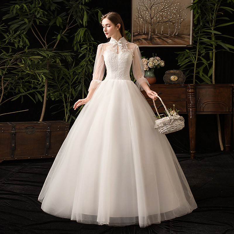 Elegant Cheap Wedding Dresses Lace Up Ball Gown High Neckline Bow 3/4 Sleeve Applique Formal Bride Dresses Robe De Mariee 2020